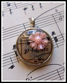 Pink Flower & Vintage Sheet Music Charm Pendant by LisaMPace, $14.95