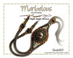 A beautifully, textured Cubic Right Angle Weave Necklace. Make a long Cubic Right Angle Weave Lariat and Peyote around a large marble to attach to the supple rope for stunning results. Create gorgeous earring with the drop section of this pattern and wow your friends.