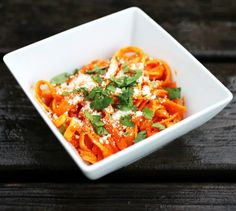 fettuccine with butternut squash and red poblano crema.
