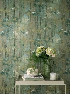Glade by 1838 Wallcoverings - Moss - Wallpaper : Wallpaper Direct Wallpaper Direct, Tree Wallpaper, Paint And Paper Library, True Colors, Colours, Little Greene, Emerald Isle, Tree Tops, Chinoiserie