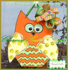 Summer Orange Chevron Wood Owl Door Hanger by CharmedSouth Owl Door Hangers, Wooden Door Hangers, Wooden Doors, Wood Crafts, Diy Crafts, Door Hanger Template, Halloween Door Hangers, Wood Owls, Orange Chevron