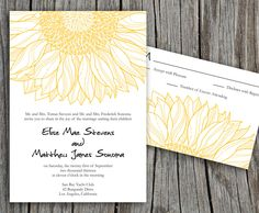 Yellow Sunflower Elise Printable Wedding Invitation - DIY Invitation - Custom colors. $25.00, via Etsy.