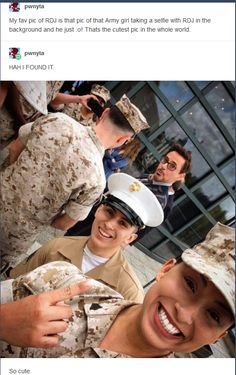 RDJ and the military woman's selfie. This is so cute and pure. #robertdowneyjr
