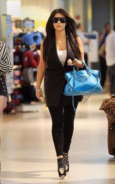 b47b0db16f6 Kim Kardashian wearing LnA Layering Tank In White Chloe 2101 sunglasses J  Brand Audrey Denim Leggings Gucci 1873 sunglasses Balenciaga City bag in  Blue ...