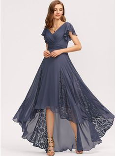 JJsHouse A-Line V-neck Asymmetrical Ruffle Lace Zipper Up Short Sleeves No Stormy General Plus Chiffon Sleeves Evening Dress. Satin Bridesmaid Dresses, Lace Bridesmaid Dresses, Mob Dresses, Fashion Dresses, Party Dresses, Vestidos Mob, Mother Of The Bride Dresses Long, Chiffon Evening Dresses, Custom Dresses