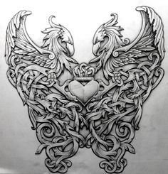 ✿ Tattoos ✿ Celtic ✿ Norse ✿ Celtic Phoenix by Tattoo-Design