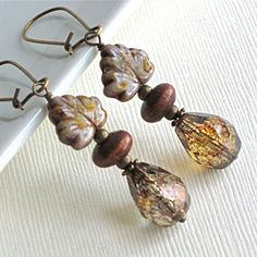 Maple Leaf Earrings  Czech Glass Leaf Jewelry by mcstoneworks, $24.00