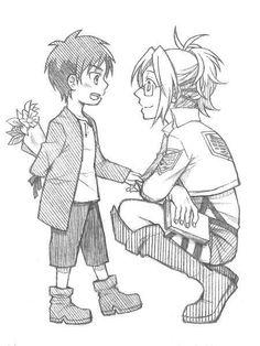 Eren has flowers for Hanji