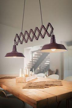 Lampa wisząca DETROIT wykonana jest z metalu w kolorze miedzianym. Lampa znajdzie zastosowanie w kuchni i jadalni, gdzie sprawdzi się nad rozkładanym stołem - żyrandol rozciąga się do szerokości 187 cm. W serii dostępne są także inne modele. Decor, Pendant Light, Lighting, Ceiling Lights, Ceiling, Home Decor