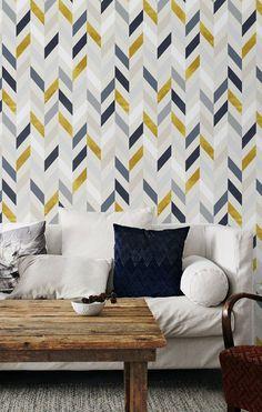 Bohemian decor Herringbone pattern Removable wallpaper Wall