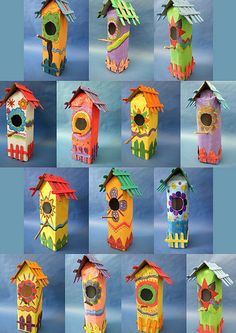 Sculpture: Bird houses  Link to crafts,folk, or decorative art