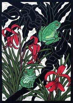 Green Tree x 35 cm Edition of coloured linocut on handmade Japanese paper. Australian Native Flowers, Australian Animals, Australian Artists, Australian Plants, Linocut Prints, Art Prints, Scratchboard, Art For Art Sake, Wood Engraving