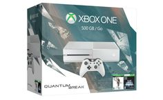 Xbox One 500GB White Console – Special Edition Quantum Break Bundle    This product includes: 500GB hard drive Cirrus White Xbox One Console, full-game digital downloads of Quantum Break and Alan Wake, white newly updated Xbox One wireless controller with a 3.5mm headset jack so you can plug in any compatible headset, 14-day trial of Xbox Live Gold, AC Power Cable, and an HDMI Cabl..