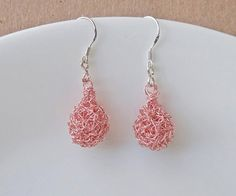 Valentine's Day Gift Rose gold Crochet drop earrings. by ByDrora, $25.00