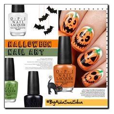 """Halloween Nail Art"" by aidasusisilva ❤ liked on Polyvore featuring beauty, OPI, Meri Meri, Halloween and nailart"