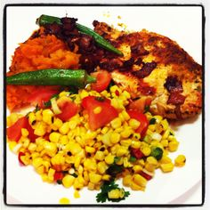 2012-10-09 21.33.17 Jamie Oliver's 15 minute meals/  spicy Cajun chicken , smashed sweet potatoes and corn salsa!