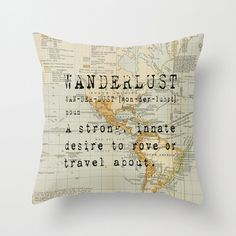 Throw Pillow Cover Wanderlust on Vintage Map of the by adidit, $36.00