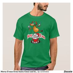Merry X-mas from Santa Claus and his reindeer T-Shirt #Christmas #Zazzle #Tshirt #Santa #SantaClaus #Reindeer #Cardvibes #Tekenaartje