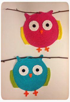 Woollen Thoughts: Eulentopflappen - Owly Potholders