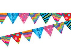 Poppin' Patterns Pennant Border Classroom Borders, Classroom Displays, School Classroom, Patterns, Logos, Prints, Block Prints, Pattern, Logo