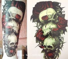 Черепа И Red Rose Горячие Sale21 Х 15 СМ Временные Татуировки Наклейки Временная Body Art Водонепроницаемый #108