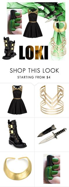 """""""Loki Inspired Outfit"""" by wannabefamous212 ❤ liked on Polyvore featuring Chi Chi, Accessorize, Giuseppe Zanotti, Kenneth Jay Lane, hero, marvel, Loki, villain and LokiForever"""