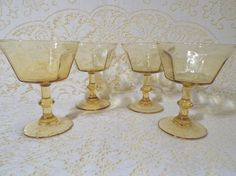 Set of 4 Beautiful Light Amber Steemed Dessert Bowls by Gem2thei