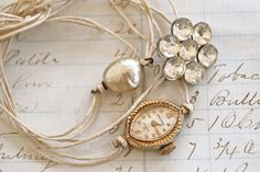 Remembrance.antique watch,baroque pearl,rhinestone string bracelet set.Tiedupmemories