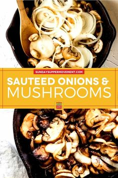 What's your favorite dish to eat with mushrooms and onions? Steak or burgers? Sautéed mushrooms and onions are the perfect, versatile side dish! With just a few simple ingredients, sautéed mushrooms and onions pair perfectly with grilled steak, as a juicy burger topping, or as a savory side dish for any protein. They're also super easy to make and are ready in under 15 minutes! #SundaySupper #mushrooms #mushroomrecipe #onions #onionrecipe #sidedish #sidedishrecipe #easyrecipe #easyrecipes via @t Onion Recipes, Rib Recipes, Side Dish Recipes, Grilling Recipes, Easy Recipes, Cooking Recipes, Marinated Mushrooms, Sauteed Mushrooms