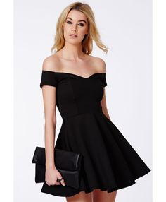 Satyra Bardot Skater Dress - Dresses - Skater Dresses - Missguided