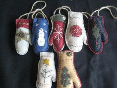 7 Felted Wool Mitten Ornaments with Christmas Designs   eBay