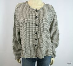 FLAX JEANNE ENGELHART L Black White Linen Striped Check Blouse Top Button-Up #Flax #ButtonDownShirt