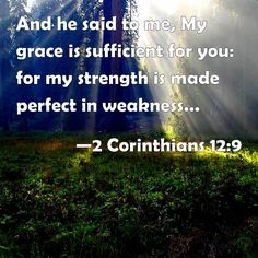 2 Corinthians 12:9 And he said to me, My grace is sufficient for you: for my strength is made perfect in weakness. Most gladly therefore will I rather glory in my infirmities, that the power of Christ may rest on me.