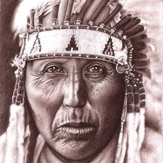 Cheyenne Chief, sepia charcoal drawing by Nicole Zeug, www.arts-and-faces.de