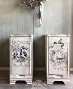 """re•designwithprima®️ on Instagram: """"How sweet is this set? Love the rustic finish with the added Decor Transfers™️from the Bike Rides set. See her page for the before. Awesome…"""" Cute Furniture, Funky Painted Furniture, Chalk Paint Furniture, Upcycled Furniture, Furniture Projects, Armoire Makeover, Furniture Makeover, Painted End Tables, Wood Table Design"""