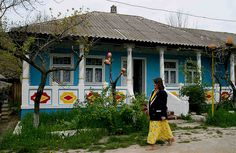 Almost looks like my grandma's house. blue and white Moldova Tourism, Bucharest, Eastern Europe, Countries Of The World, Bulgaria, Romania, Places To Visit, Peace Corps, Grandma's House