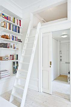 ² one room apartment located in Stockholm Plus Mezzanine Design, Mezzanine Bedroom, Loft Room, Bedroom Loft, One Room Apartment, Micro Apartment, Tiny Apartments, Small Space Design, Small Space Living