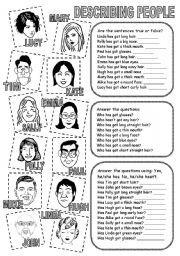 English teaching worksheets: Describing people