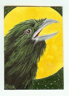 """#22 """"Harvest Moon"""" ACEO on canvas paper. Painted in Acrylics."""