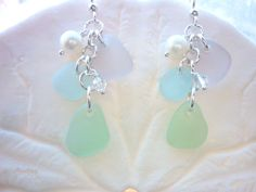 Sea Glass Earrings  Chandelier Aqua, Lavender Beach Seaglass with Pearls in Sterling Silver TheMysticMermaid