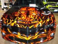 images of cars painted with flames   Terminator real fire custom paint on a 2010 SS camaro.