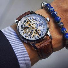 A work of art on your wrist #vodrichTimepiece: Da Vinci ($65)Bracelet: Blue Gemstone ($27)
