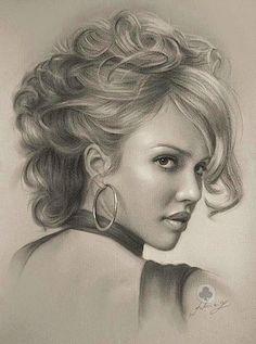""""""" Jessica Alba""""-Pencil sketch by Polish artist Krzysztof Lukasiewicz"""