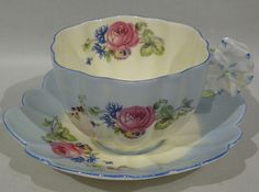 Rare Paragon FLORAL Full FIGURAL FLOWER HANDLE Cup & Saucer Set - c 1930s