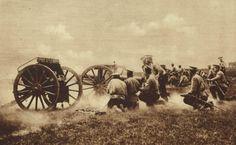 Russian field guns firing at targets during World War I.