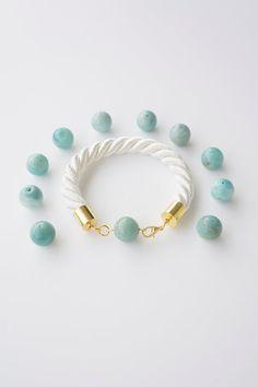 White Rope Bracelet, Aquamarine Bracelet, Aquamarine Jewelry, Blue Bracelet, Good Luck Bracelet, Friendship Bracelet, Love Bracelet, For Her #etsyfind #gifts