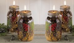 Winter Forest Mason Jar Oil Candles - DIY with mason jar w/ lids, smokeless odorless paraffin oil, fiberglass wick (never needs replacing/do NOT advance wick), wick holder insert (glass or metal), drill, Decorations: pine cones, evergreen trimmings, berries, holly, seedpods, lichen/moss, fern fronds, sticks, or whatever else you can think ok. Great for winter season decor. Makes a cute xmas gift as well :)
