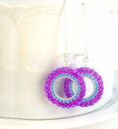 Retro beaded hoop earrings by Jewellery By jora