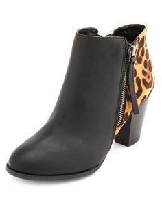 Leopard Side-Zip Ankle Bootie: Charlotte Russe