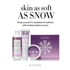 Skin as soft as snow! Wrap yourself in a blanket of softness with limited-edition scents. Winter Lavender Collection available for a limited time only.get yours today! Avon Skin So Soft, Avon Online, Lavender Scent, Avon Representative, Hand Cream, Body Butter, Body Wash, Health And Beauty, Bath And Body